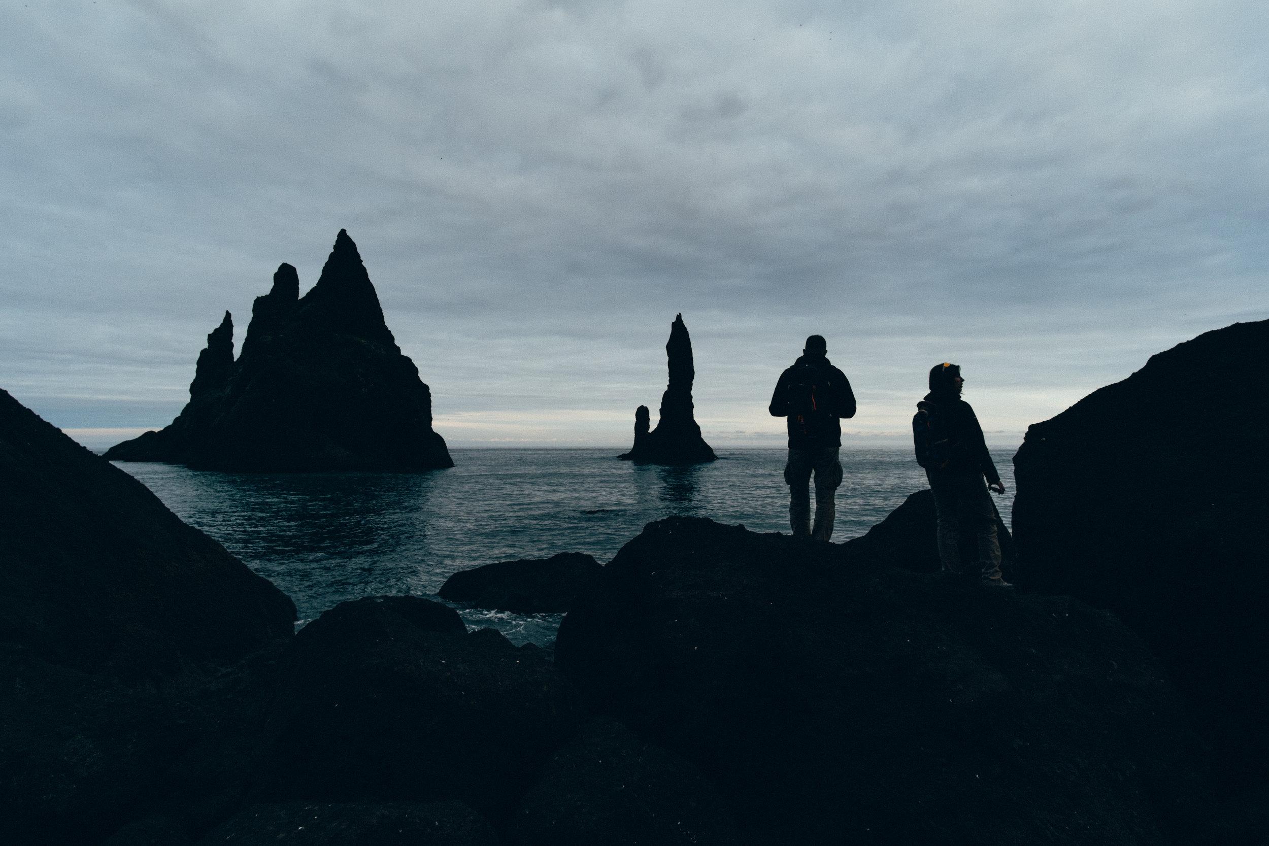 Reynisdrangar Cliffs Silhouette