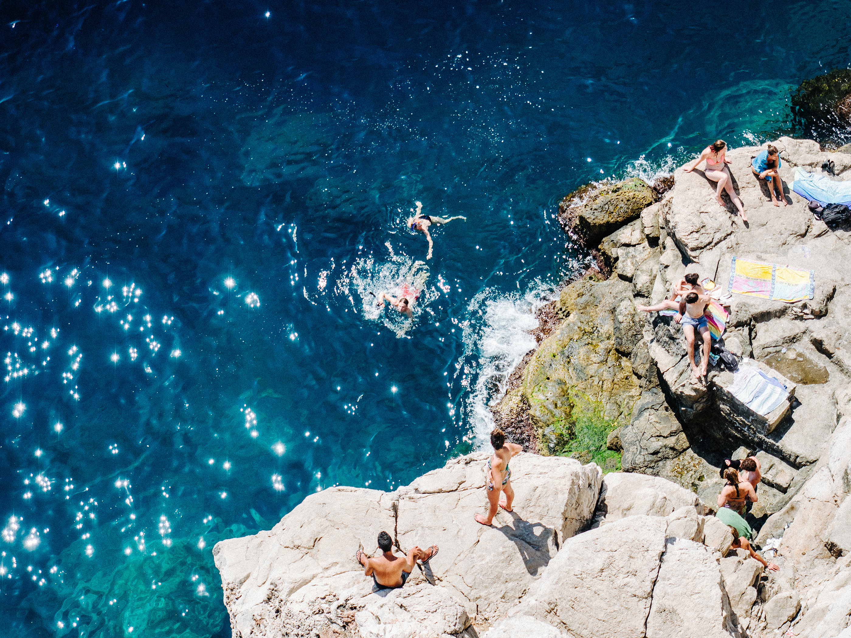 Swimming outside City Walls of Dubrovnik