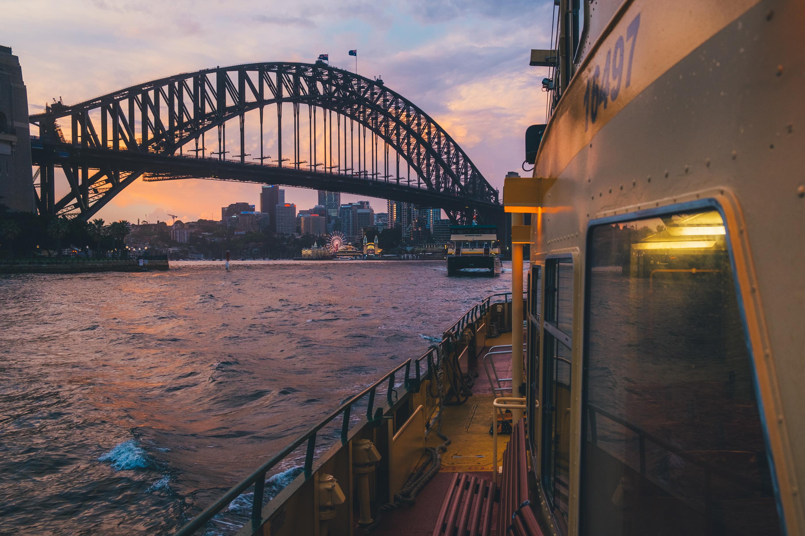 Harbour Bridge from Ferry in Sydney