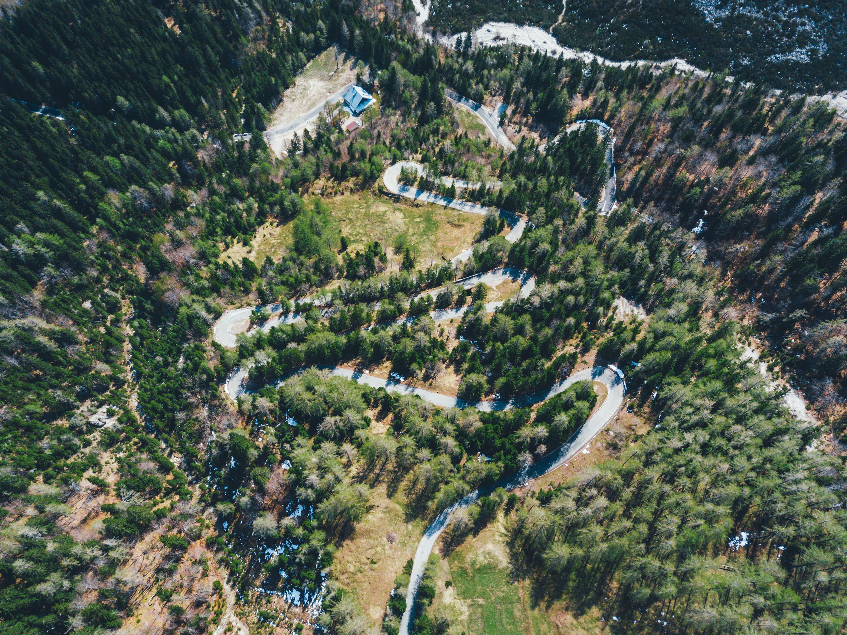 Vršič Pass winding road
