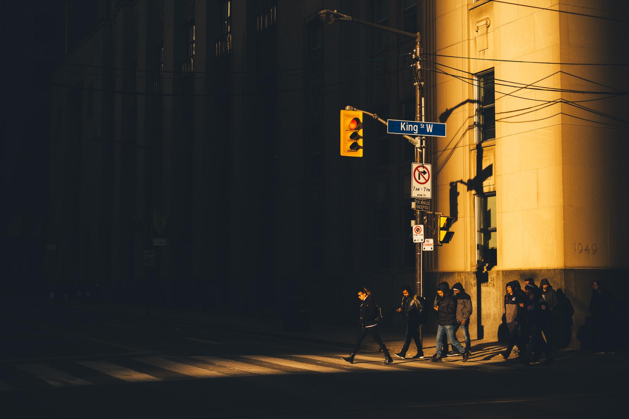 Street Photography Toronto Crosswalk Heavy Shadows