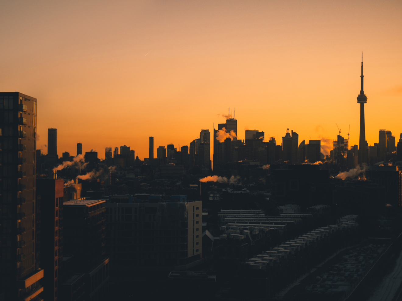 Toronto Skyline in Silhouette at Sunrise
