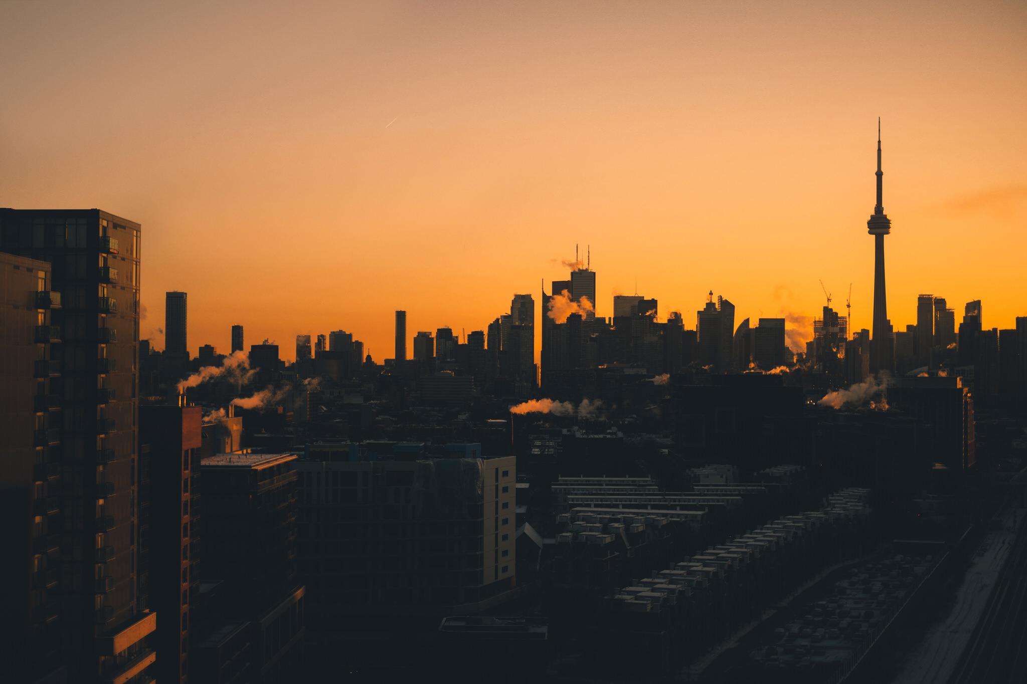 Toronto Skyline in Silhouette at Sunrise